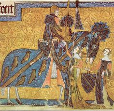 Sir Geoffrey Luttrell being seen off to tournament by his wife Agnes Sutton and his daughter in law Beatrice Scrope.From the illustrated Luttrell Psalter 1335-1340