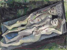 Ilustraciones de Otto Dix, Weibliche Leichen (Anatomie Dresden-Friedrichstadt), hecho del aceite en la lona colocada a bordoOtto Dix  Zwei Kinder (mit Sonnenblume) , 1966  Colour lithograph on laid paper with watermark  Dimensions: 43.8 x 59.6 cm (56.4 x 72.2 cm)  78/80.