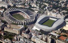 Le stade Parc des Princes ( à gauche) et le stade récemment rénové Jean Bouin par l' architecte Rudy Ricciotti, le 14 Juillet 2013. Le Parc des Princes accueille les matches de football de Ligue 1 française équipe Paris St Germain. #