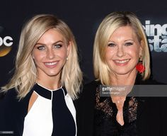 Dancer/TV personality Julianne Hough (L) and actress/singer Olivia Newton-John attend 'Dancing with the Stars' Season 21 at CBS Televison City on October 19, 2015 in Los Angeles, California.