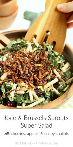 A copycat of one of my favorite restaurant salads that's even better than the original! So much flavor, texture, and nutrition packed into one bowl - kale, Brussels sprouts, cherries, apples, quinoa, almonds, and don't forget those incredible fried shallots on top that take it to a whole other level! #kale #brusselssprouts #superfood #salad