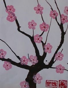 Cherry Blossom Paintings..dining room on three panels.....either painted or with branches and tissue