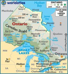 Ontario Map / Geography of Ontario / Map of Ontario Toronto Airport, Canadian History, History Timeline, New Brunswick, Great Lakes, Canada Travel, Countries Of The World, Teaching, Naturaleza