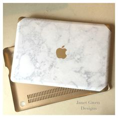 Marble and Gold with Logo ($66) ❤ liked on Polyvore featuring accessories, tech accessories, monogrammed laptop case and macbook laptop case