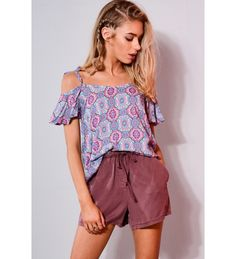 Double Agent High Waisted Relaxed Purple Shorts With Draw String Clothing Cotton Shorts Shorts Purple Shorts, Boho Shorts, High Wasted Shorts, Cotton Shorts, Must Haves, Floral Tops, Clothes For Women, Womens Fashion, Draw