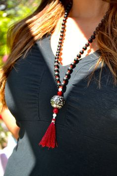 Long Black Wooden Beaded Necklace with Silver by uniquebeadingbyme #tassel #necklace