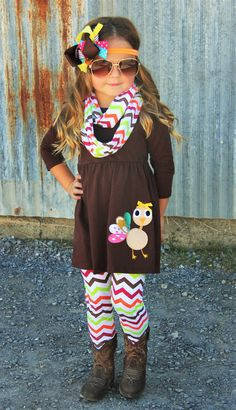 d7a96ff5cef Super stylish Turkey outfit for your little girl. Comes with tunic top with  the turkey applique and infinity scarf. 3 PIECE SET And if you