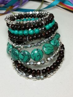 Mona L - Turquoise and Silver Beaded Bracelet by Red Dirt Diva