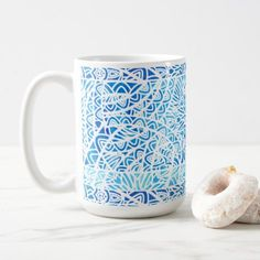 Watercolor Stained Glass Abstract Pattern Blue Coffee Mug - pattern sample design template diy cyo customize