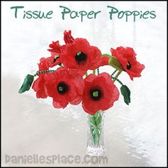 Tissue Paper Poppy Craft for Kids from www. Tissue Paper Poppy Craft for Kids from www. Poppy Craft For Kids, Spring Crafts For Kids, Christmas Crafts For Kids, Summer Crafts, Art For Kids, Craft Kids, Plant Crafts, Vase Crafts, Paper Plate Poppy Craft