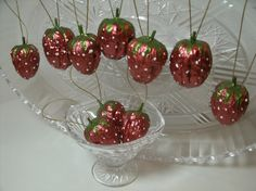 Set of 10 Strawberry ornaments made from a by BonnetsBagsTreasures