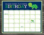 Turtle Guess the Due Date Calendar Printable - Birthday Prediction Calendar - Boy Baby Shower Game - Navy Blue and Green Baby Shower Games, Baby Shower Parties, Baby Boy Shower, Baby Showers, Baby Turtles, Turtle Baby, Baby Due Date Calendar, Baby Bug, Nautical Baby