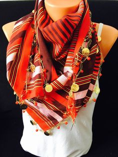 Red stripped traditional scarf shawl bohemian scarf by GCbazaar