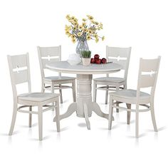 East West Furniture SHRO5WHIW 5Piece Kitchen Table and Chairs Set -- You can find more details by visiting the image link.Note:It is affiliate link to Amazon. #tflers