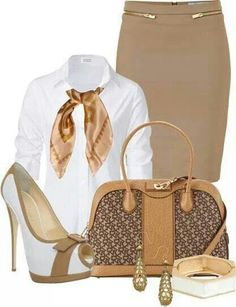Chic Professional Woman Work Outfit. H
