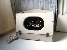 Vintage Wooden Bread Box Shabby Chic Cream by WillowsEndCottage