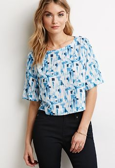 Watercolor Abstract Print Blouse | Forever 21 - 2000097833