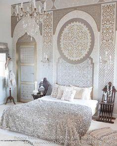 Boho Glam Girls Room Decor and Accent Wall Painted with Palace Trellis Moroccan Wall Stencils - Royal Design Studio Moroccan Wall Stencils, Interior Design Minimalist, Moroccan Interiors, Suites, Easy Home Decor, Zen Home Decor, Beautiful Bedrooms, Exotic Bedrooms, My New Room