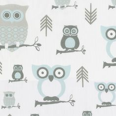 Mist and Gray Owls Sold by the Yard #carouseldesigns