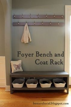A New Coat Rack and Bench for Our Foyer=Much Better - Foyer Bench and Coat Rack Tutorial. Click throught to see how a simple DIY turned our Foyer into an Organized dream. Coat And Shoe Rack, Coat And Shoe Storage, Diy Coat Rack, Diy Storage Bench, Coat Racks, Coat Rack Shoe Bench, Storage Ideas, Coat Rack With Bench, Entry Way Storage Bench
