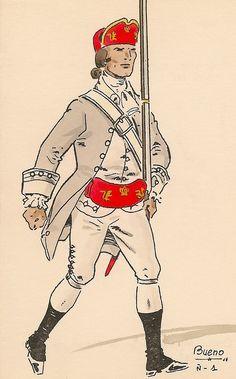 Milicias de Infantería de Pardos de Mérida de Yucatán 1767 Oficial