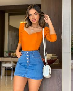 Teen Fashion Outfits, Classy Outfits, Chic Outfits, Trendy Outfits, Summer Outfits, Womens Fashion, Denim Skirt Outfits, Crop Top Outfits, Denim Mini Skirt