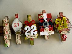 a creative countdown to Christmas, embellished clothes pins advent calendar!