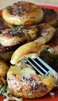 Crispy-Outside Creamy-Inside Garlic Herb Potatoes. Ok, so mine looked nothing like the picture but man were these good!