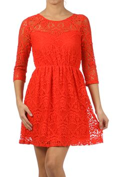 A feminine dress with delicate lace overlay - pair with brown boots for causal glam or dress it up with heels for your office holiday party. Features 3/4 sleeves, reverse scoop neck and elastic waist. $42 Shipped! Go to www.facebook.com/studio706boutique to order