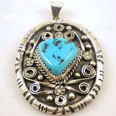 Navajo Turquoise Silver Pendant By Tom Begay
