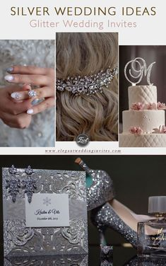 Elegant winter snowflake glittery laser cut wedding invitations with custom belly bands EWWS211