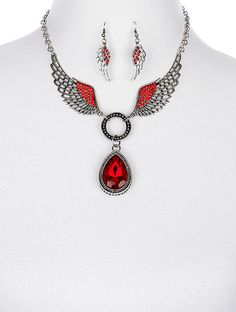 Arabella Ave by Tina  http://www.arabellaave.com/#a_aid=TinaGowans  AGED FINISH METAL WINGS NECKLACE AND EARRING SET $16.00 NEW SET.....LOVE IT!!! AVAILABLE IN RED, BLUE, BLACK AND CLEAR 18 INCH LONG CRYSTAL STONE FACETED HOMAICA STONE TEARDROP  TEXTURED METAL FRAME  PATTERNED LINK CHAIN  FISH HOOK  3 INCH DROP  NICKEL AND LEAD COMPLIANT