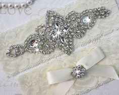 SALE - CHLOE - Wedding Garter Set, Wedding Ivory Stretch Lace Garter, Rhinestone Crystal Bridal Garters on Etsy, $23.95