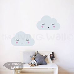 Dreaming Clouds Wall Decals, Cloud Decal, Sweet Clouds Wall Stickers, Cloud Nursery Decor by LivingWall on Etsy https://www.etsy.com/ca/listing/267177012/dreaming-clouds-wall-decals-cloud-decal