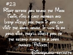 Disneyland secrets-i read that you can also ask to drive it and they will give you a certificate afterwards. Disneyland World, Disneyland Secrets, Disney Secrets, Disneyland Vacation, Disney World Trip, Disney Tips, Disney Memes, Disney Quotes, Disney Vacations