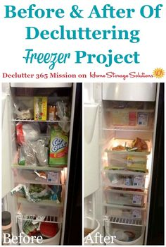 Before and after of freezer decluttering project on Home Storage Solutions 101
