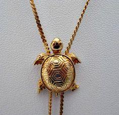Turtle Slide Necklace  1980 Vintage Avon Jewelry by vintagejewelry, $20.50