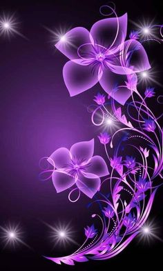 Purple Flower wallpaper by ____S Et Wallpaper, Purple Wallpaper, Butterfly Wallpaper, Wallpaper Backgrounds, Purple Love, All Things Purple, Shades Of Purple, Purple Flowers, Purple Hearts