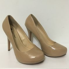 """Michael Antonio Patent Leather Nude Heels New pair of Michael Antonio patent leather nude colored heels.  Round-toe pump in glossy finish with a hidden platform and wrapped heel.  Heel is approximately 4.25"""" and platform is approximately 0.5"""".  These heels have never been worn but there is a small knick on the right heel (I have no idea how this happened). Michael Antonio Shoes Heels"""