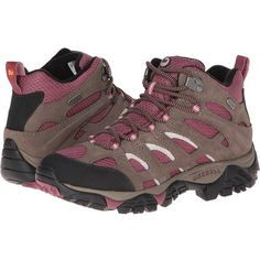 Merrell Moab Mid Waterproof Women's Hiking Boots ($130) ❤ liked on Polyvore featuring shoes, athletic shoes, platform shoes, lace up shoes, waterproof leather shoes, water proof hiking boots and leather platform shoes