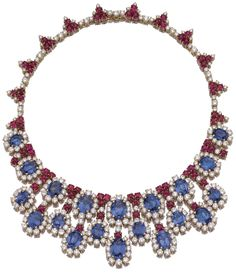 Bulgari    Sapphire, ruby, and diamond necklace