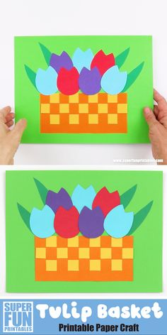 Make a paper tulip craft with our printable template. This is a fun idea for Spring and gives kids great opportunity to practice their fine motor skills with easy cutting and gluing involved Paper Crafts For Kids, Craft Activities For Kids, Preschool Crafts, Easter Crafts, Fun Crafts, Craft Kids, Craft With Paper, Sequencing Activities, Spring Arts And Crafts
