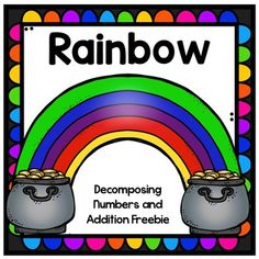 This rainbow addition freebie is perfect for spring and St. Patrick's Day practice! I use this as a math station in my classroom. Students will roll the die and put that many coins on the first pot beneath the rainbow (play doh or plastic gold coins or even pennies work great for this).