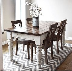 20 Gorgeous Farmhouse Table Design Ideas Best For Your Dining Room - What is a farmhouse table? The farmhouse table is a rustic style type of furniture and it is an important part of the French country lifestyle. The mo. Farmhouse Table Plans, Farmhouse Style Table, Farmhouse Kitchen Tables, Farmhouse Furniture, Diy Furniture, Furniture Plans, Farmhouse Decor, White Furniture, Furniture Design
