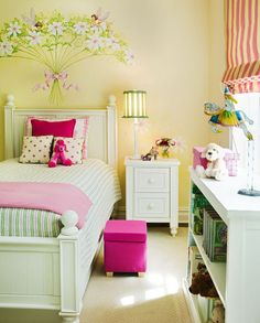 Girls Bedroom Ideas with Fairy Wall Stickers? Love the modern yet classic style..