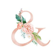 Peach Cream / Blush Floral Alphabet - ampersand & with flowers bouquet composition. Unique collection for wedding invites decoration & other concept ideas. Monogram Decal, Monogram Letters, Ampersand Tattoo, Alphabet, Unicorn Art, Wallpaper Iphone Disney, Wedding Scrapbook, Floral Illustrations, Flower Frame