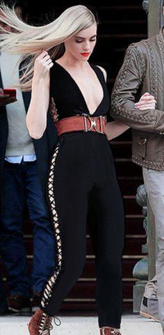 Deep V Lace-up Hollow Out Black Bandage Jumpsuit Bodysuit. iulover. New Women  Fashion Black Lace up Bodycon Bandage Jumpsuit Sexy ... 42f0abcd3112