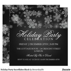 Holiday Party Snowflakes Black Card