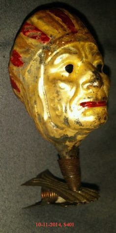 Native American, Indian Chief head, clip-on Christmas ornament, blown glass, German, SOLD $401, eBay, Oct 11, 2014