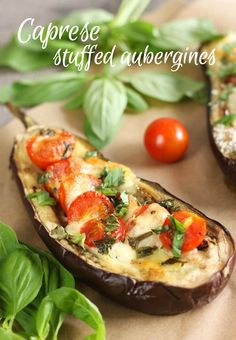 Caprese stuffed aubergines - these are so easy to make, and the meaty aubergine tastes so good with the juicy roasted tomatoes and chewy mozzarella!